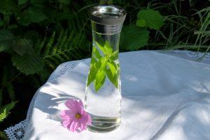 Karaffe aus Glas gefüllt mit Leitungswasser