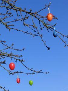 Dekoration Frühling -Bunte Ostereier schmücken einen Baum