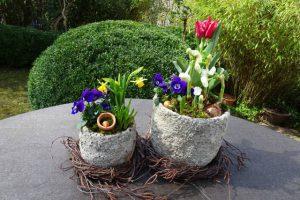 Dekoration Frühling -Kränze aus Birkenreisig verschönern Pflanztöpfe